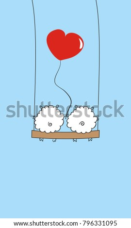 two sheep with a heart on the