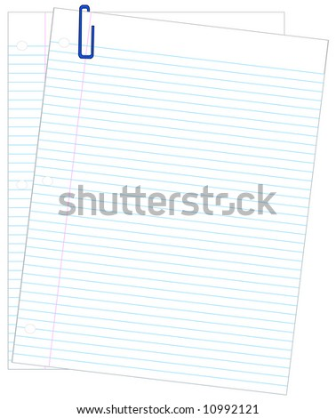 two sheets of lined paper with blue paper clip - vector