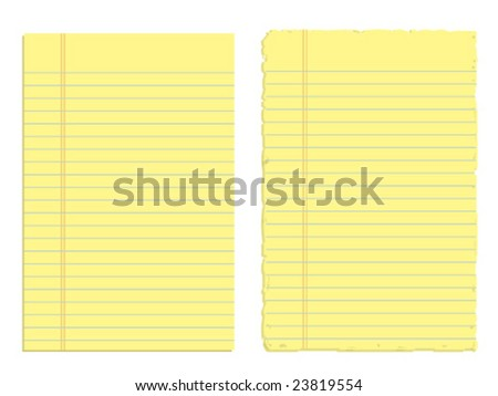 Two sheets of paper isolated on white (JPG version also available in my portfolio) - stock vector