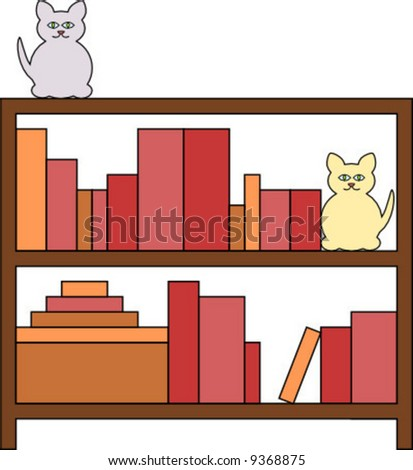 clip art bookcase. shelf ookcase filled with