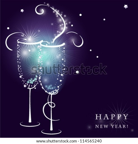 Two shining Champagne Glasses with Abstract Splash. Vector illustration.