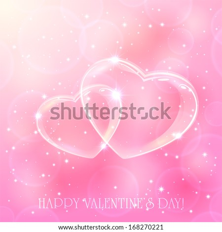 two shinny hearts on pink