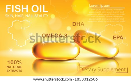 Two shiny capsules with natural extract of fish oil for skin, hair and nail beauty. Dietary supplement with Omega 3, DHA and EPA. Place for text. Realistic 3D mockup product placement. Vector Сток-фото ©