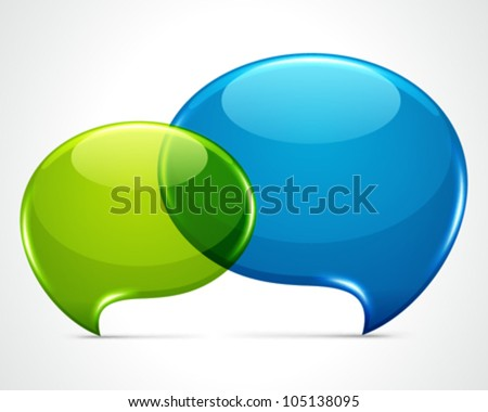 two shiny speech bubbles vector