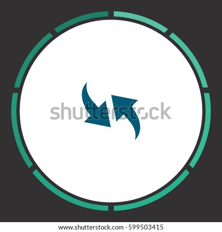 Two side arrow Icon Vector. Flat simple Blue pictogram in a circle. Illustration symbol