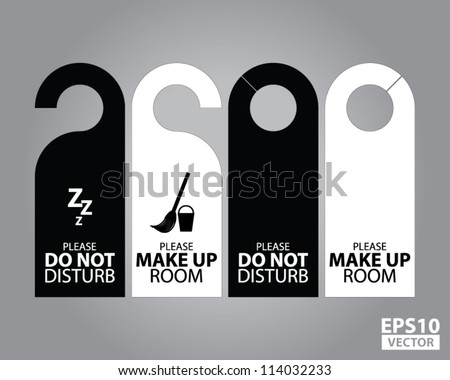 Shutterstock Two Side Black and White Door Hanger Tags for Room in Hotel or Resort - EPS10 Vector
