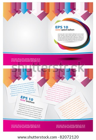 2 sided brochure templates - two sided colorful vector brochure design with arrows and