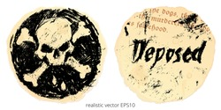 Two sides of the Black Spot. Vector clipart of pirates artifact from Stevenson's novel Treasure Island. Charcoal sketch of Jolly Roger crossbones, word 'Deposed' on the torn paper piece of Apocalypse.