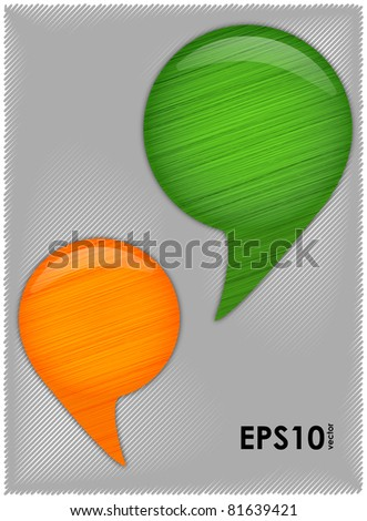 Two signs of commas green and orange arranged against a background of shaded gray lines