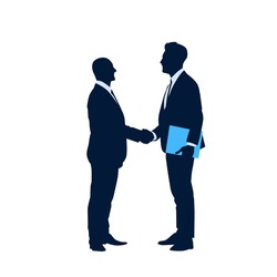 Two Silhouette Businessman Hand Shake, Business Man Handshake Agreement Concept Flat Vector Illustration