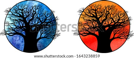 two silhouettes of a large tree