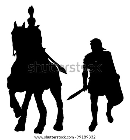 Two silhouettes of Ancient Greek soldiers