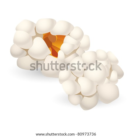 Two single pieces of isolated popcorn. Illustration on white background
