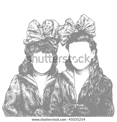 two sisters with bows drawing