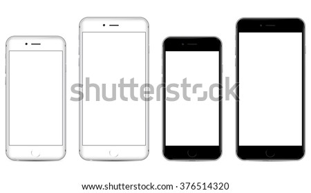 Two sizes of white and black mobile smartphone with blank screen isolated on white background, side by side. eps 10 vector illustration