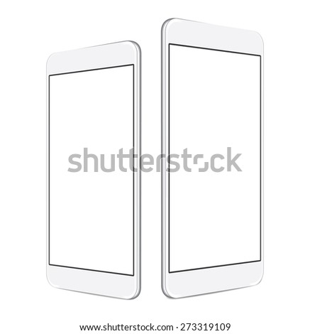 two sizes of white mobile smartphone with blank screen isolated on white background, angled position side by side. eps 10 vector illustration