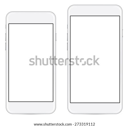 two sizes of white mobile smartphone with blank screen isolated on white background, side by side. eps 10 vector illustration