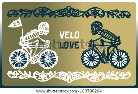Two skeletons on bicycles rush to meet each other