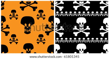 Two skull seamless patterns. Halloween vector backgrounds.