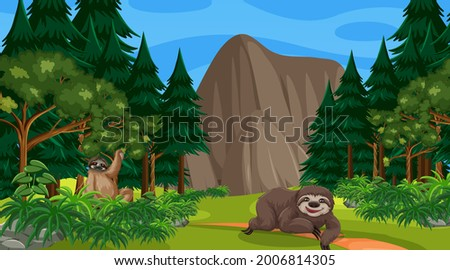 two sloths in forest at daytime