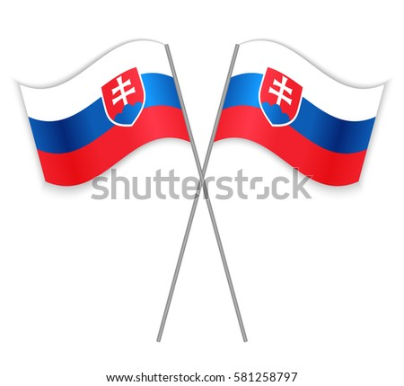 two slovak crossed flags