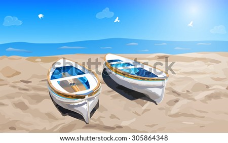 two small boats on sea shore