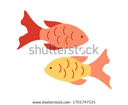 two small colored fish vector