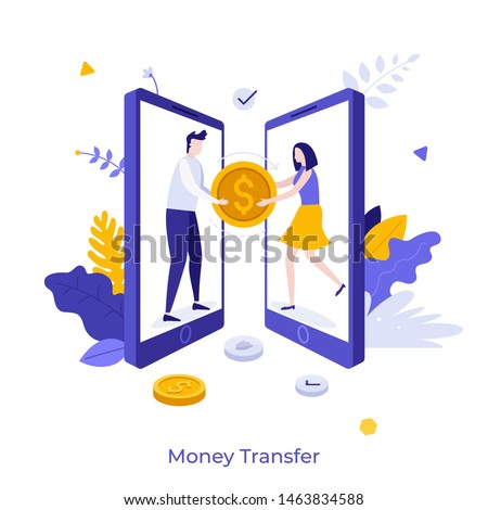 Two smartphones and man giving giant coin to woman. Concept of secure mobile payment, money transfer service, transaction, donation. Flat cartoon colorful vector illustration for banner, poster. Stockfoto ©