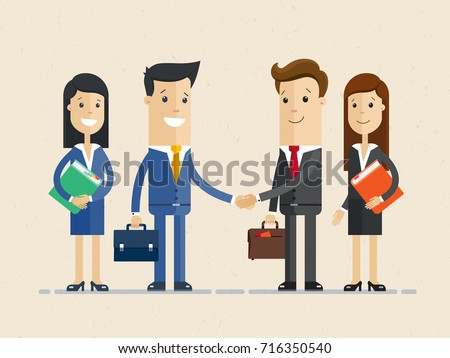 Two smiling businessman shaking hands together. And their women assistants standing nearby. Vector, illustration, flat