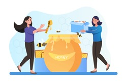 Two smiling female characters extracting and eating honey together. Beekeeper taking honeycomb and put to jar. Concept of producing natural product on beekeeping farm. Flat cartoon vector illustration