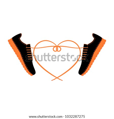 Two sneakers with long tangled shoelaces in shape heart. A pair of shoes with laces and heart. Men sport city footwear. City fashionable youth shoes. Isolated vector illustration. Flat design.