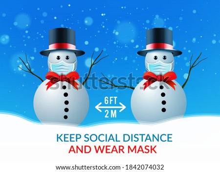 Two snowmen at a safe distance and wearing medical masks. Vector illustration against the spread of coronavirus, covid-19