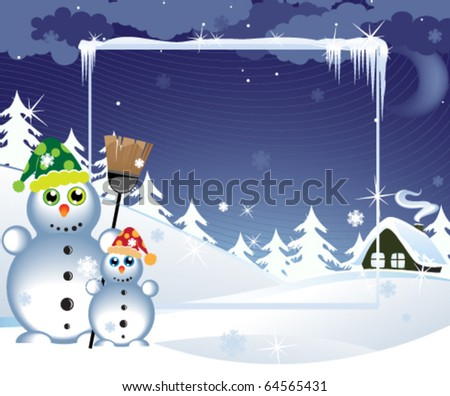 Two snowmen in the bright hats near a lonely hut