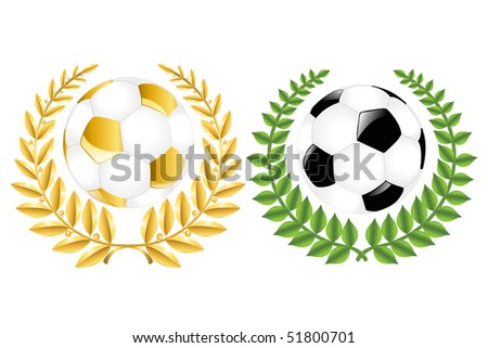 Two Soccer Balls (Classic and Golden) With Wreathes, Isolated On White