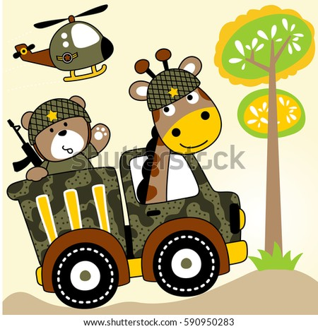 two soldiers giraffe and bear