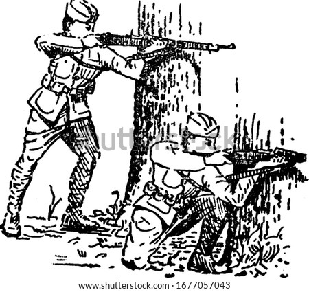two soldiers shooting guns in