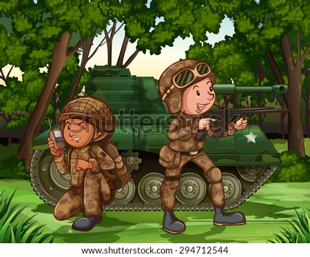 two soldiers with armed by the