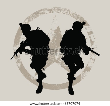 Two soldiers with grunge star at the background