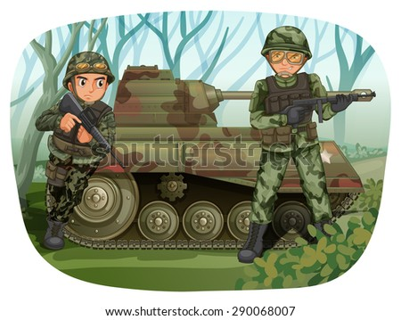 two soldiers with rifle guns