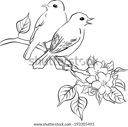 Two Birds On A Branch Painting