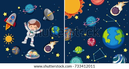 two space scenes with planets