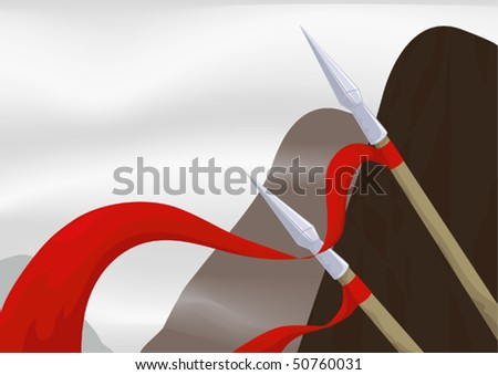 two spears on a background