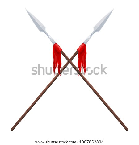 two spears on a white