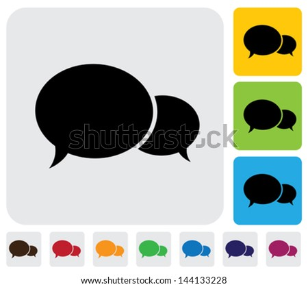 Two speech bubbles(chat icons)- minimalistic vector graphic. The illustration has simple colorful icons on green,orange & blue backgrounds & is useful for websites,blogs,documents,printing,etc