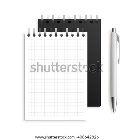Two spiral notebook and white ballpoint Pen. Realistic notebooks and pen vector illustration