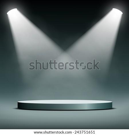 two spotlights illuminate the