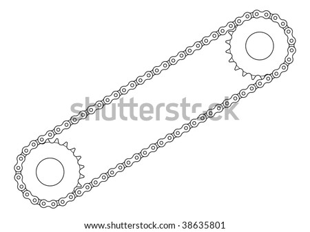 Two sprockets with chain vector