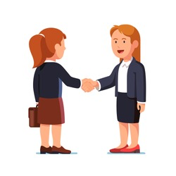 Two standing business woman characters shaking hands firmly successfully sealing agreement deal while standing. Businesswoman handshake. Flat style vector illustration isolated on white background