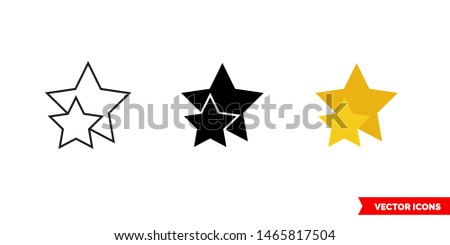 two star icon of 3 types  color