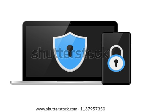 Two step authentication illustration, smartphone and computer safety login or signin, two steps verification via mobile phone and pc Vector